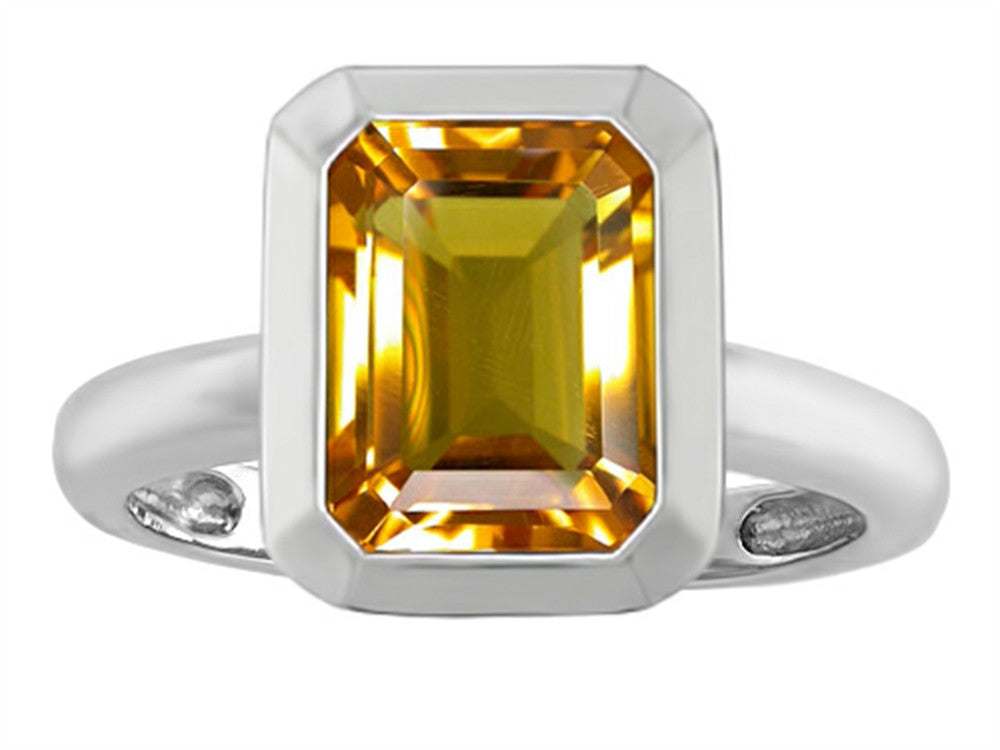 Star K Emerald Cut Octagon Solitaire Ring with Simulated Citrine Sterling Silver Size 8