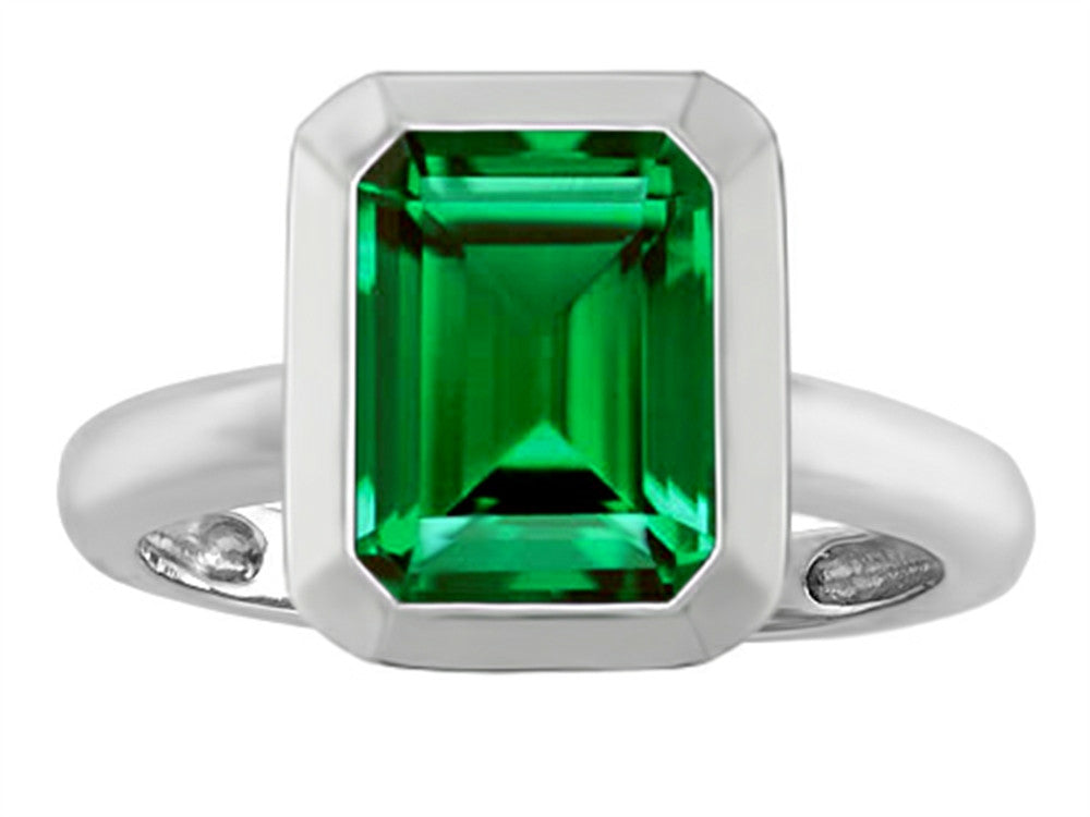 Star K Emerald Cut Octagon Solitaire Ring with Simulated Emerald Sterling Silver Size 8