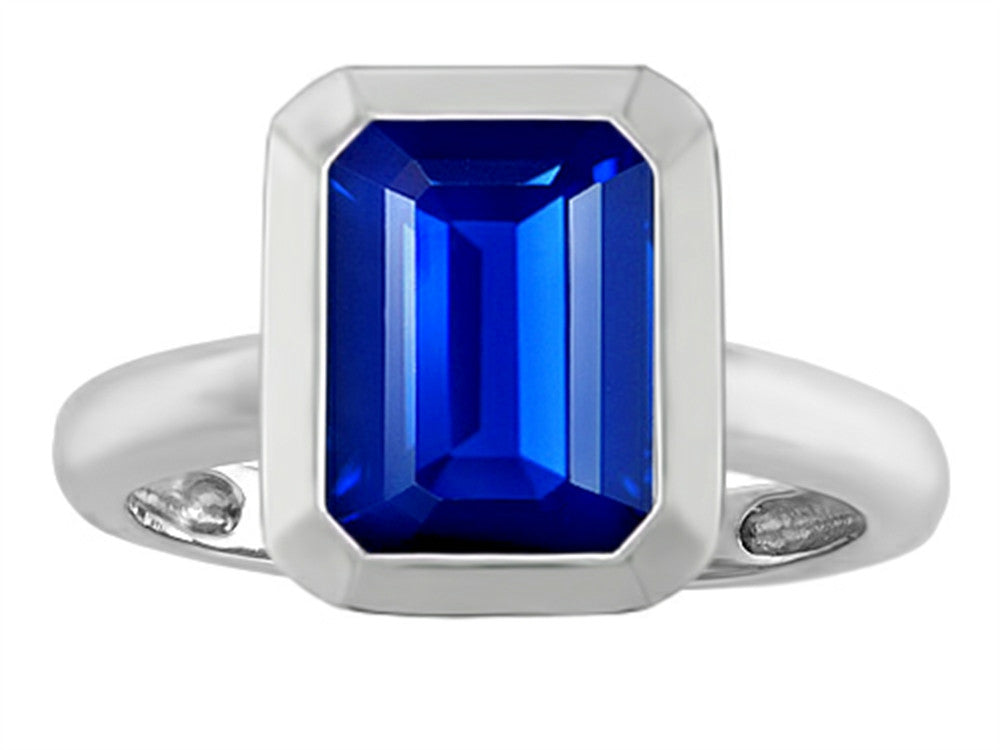 Star K Emerald Cut Octagon Solitaire Ring with Created Sapphire Sterling Silver Size 8