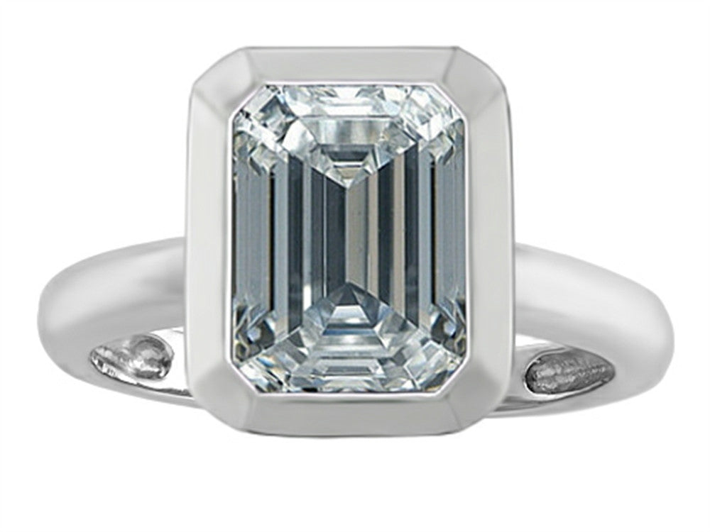 Star K Emerald Cut Octagon Solitaire Ring with Genuine White Topaz Sterling Silver Size 8