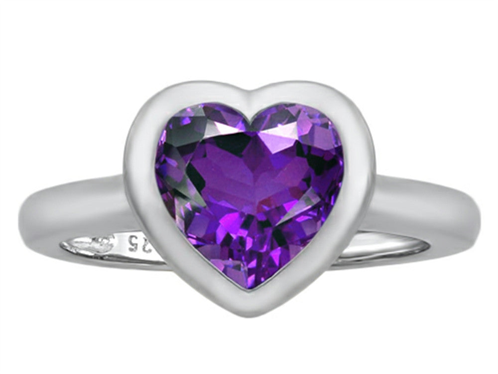 Star K 8mm Heart-Shape Solitaire Ring with Simulated Amethyst Sterling Silver Size 8