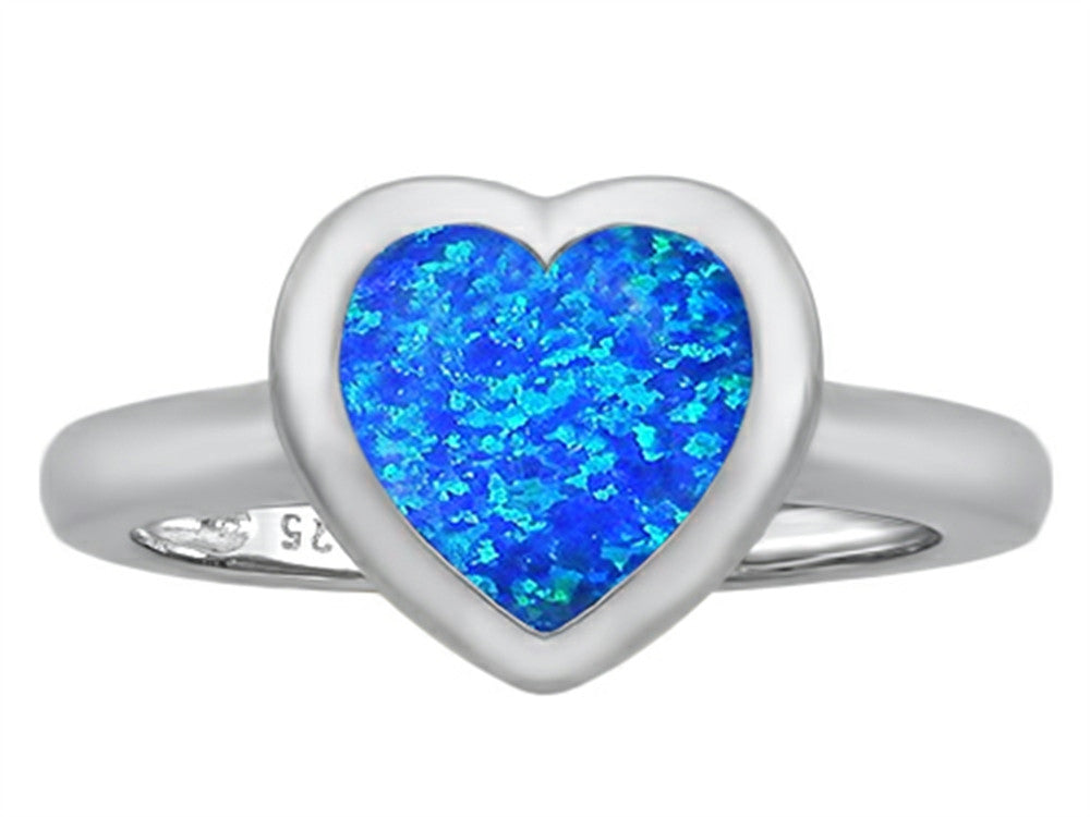 Star K 8mm Heart-Shape Solitaire Ring with Simulated Blue Opal Sterling Silver Size 8