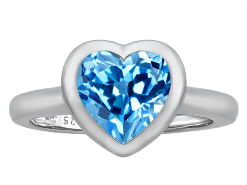 Star K 8mm Heart-Shape Solitaire Ring with Simulated Blue-Topaz Sterling Silver Size 8