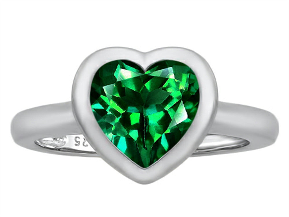 Star K 8mm Heart-Shape Solitaire Ring with Simulated Emerald Sterling Silver Size 8