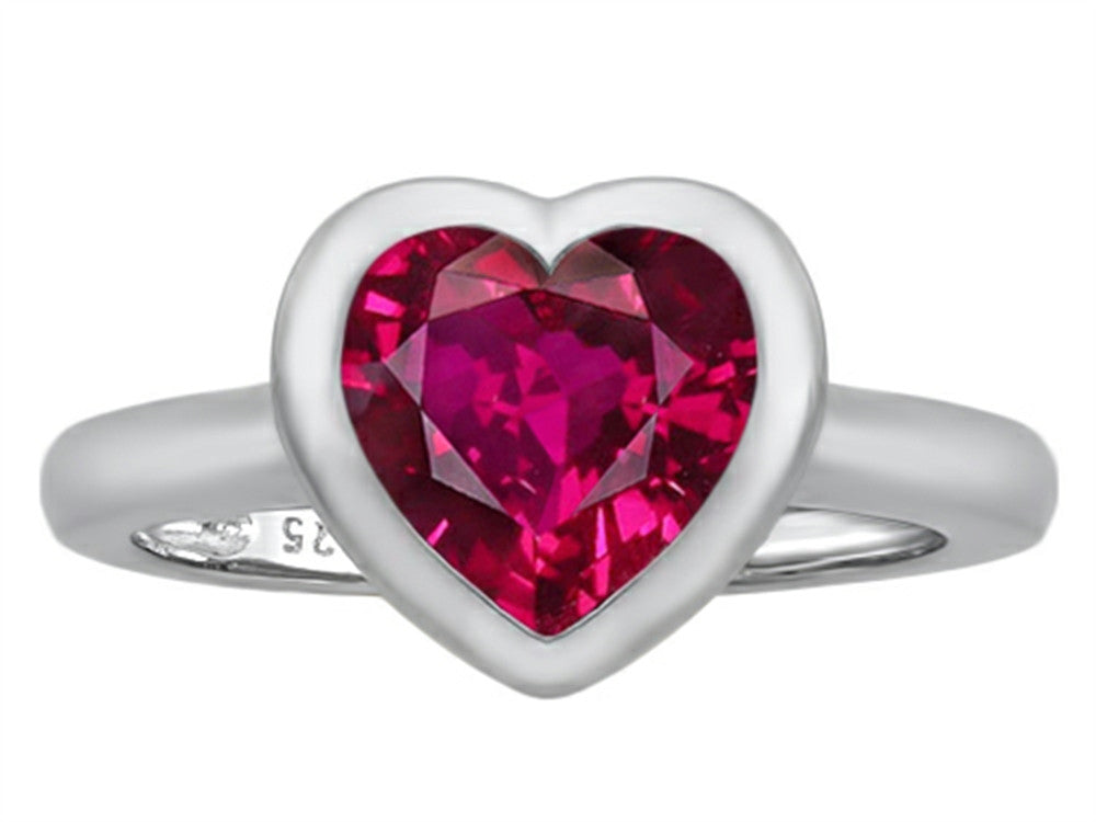 Star K 8mm Heart-Shape Solitaire Ring with Created Ruby Sterling Silver Size 8