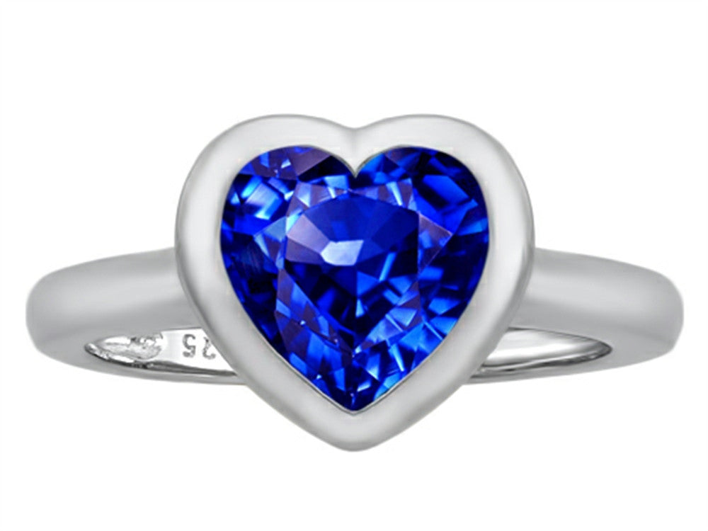 Star K 8mm Heart-Shape Solitaire Ring with Created Sapphire Sterling Silver Size 8