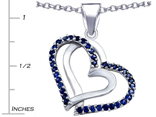 Star K Round Created Sapphire Double Hearts Pendant Necklace Sterling Silver