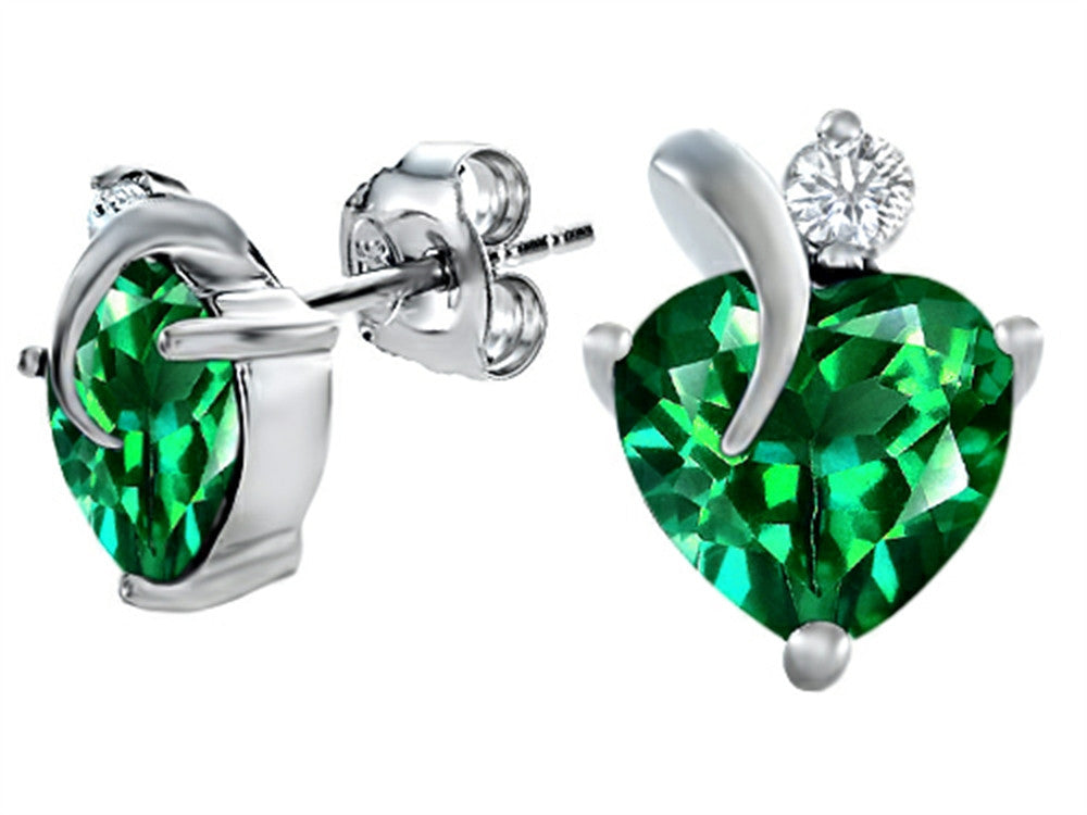 Star K 8mm Heart-Shape Simulated Emerald Heart Earrings Sterling Silver