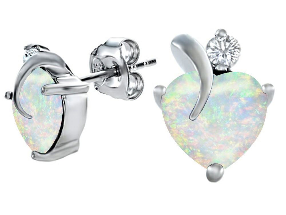 Star K 8mm Heart-Shape Created Opal and Cubic Zirconia Heart Earrings Sterling Silver