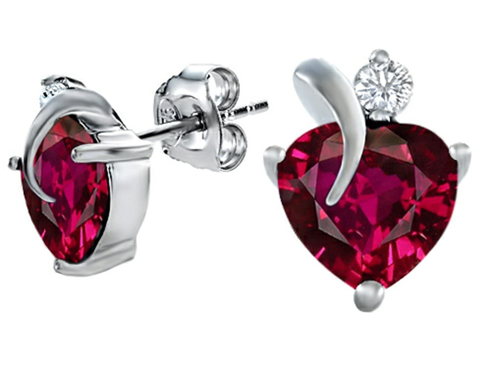 Star K 8mm Heart-Shape Created Ruby Heart Earrings Sterling Silver