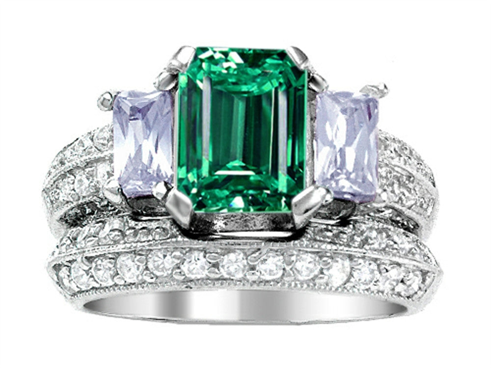 Star K 8x6mm Emerald Octagon Cut Simulated Emerald Wedding Set Sterling Silver Size 8