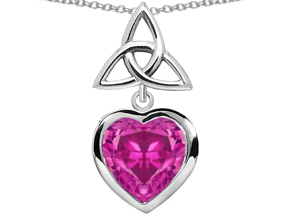 Star K Love Knot Pendant Necklace with Heart 9mm Created Pink Sapphire Sterling Silver