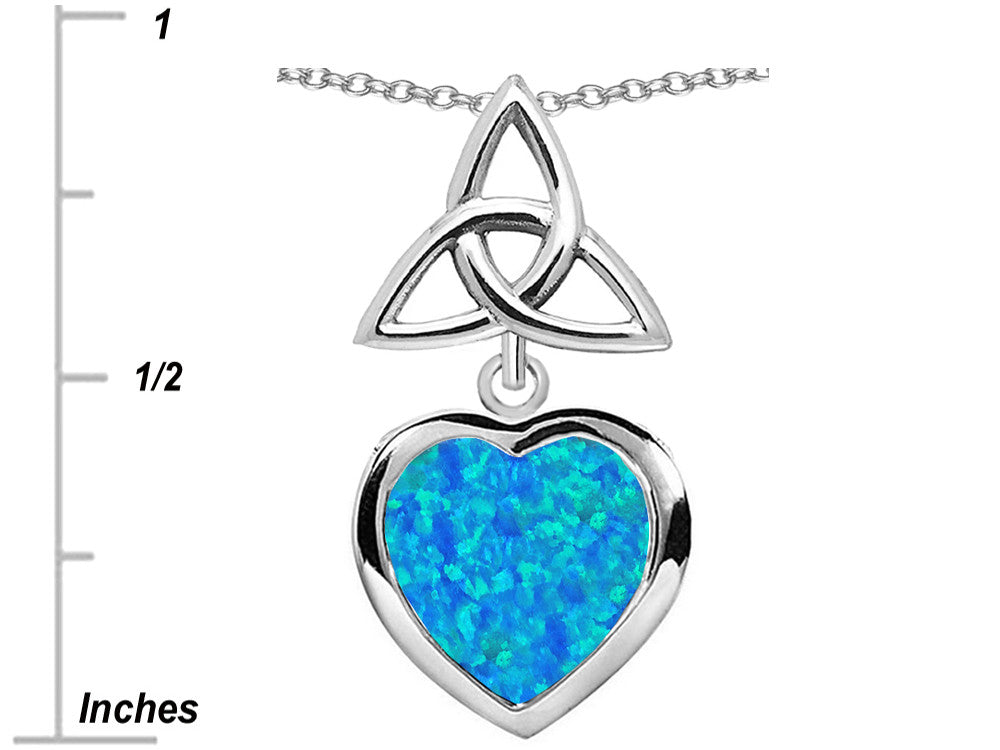 Star K Love Knot Pendant Necklace with Heart 9mm Blue Created Opal Sterling Silver