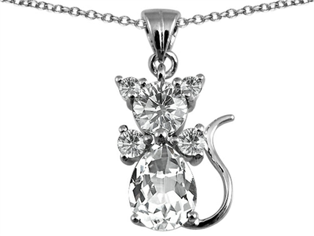 Star K Cat Pendant Necklace with Genuine White Topaz Sterling Silver