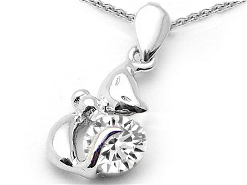 Star K Round 6mm Genuine White Topaz Cat Pendant Necklace Sterling Silver