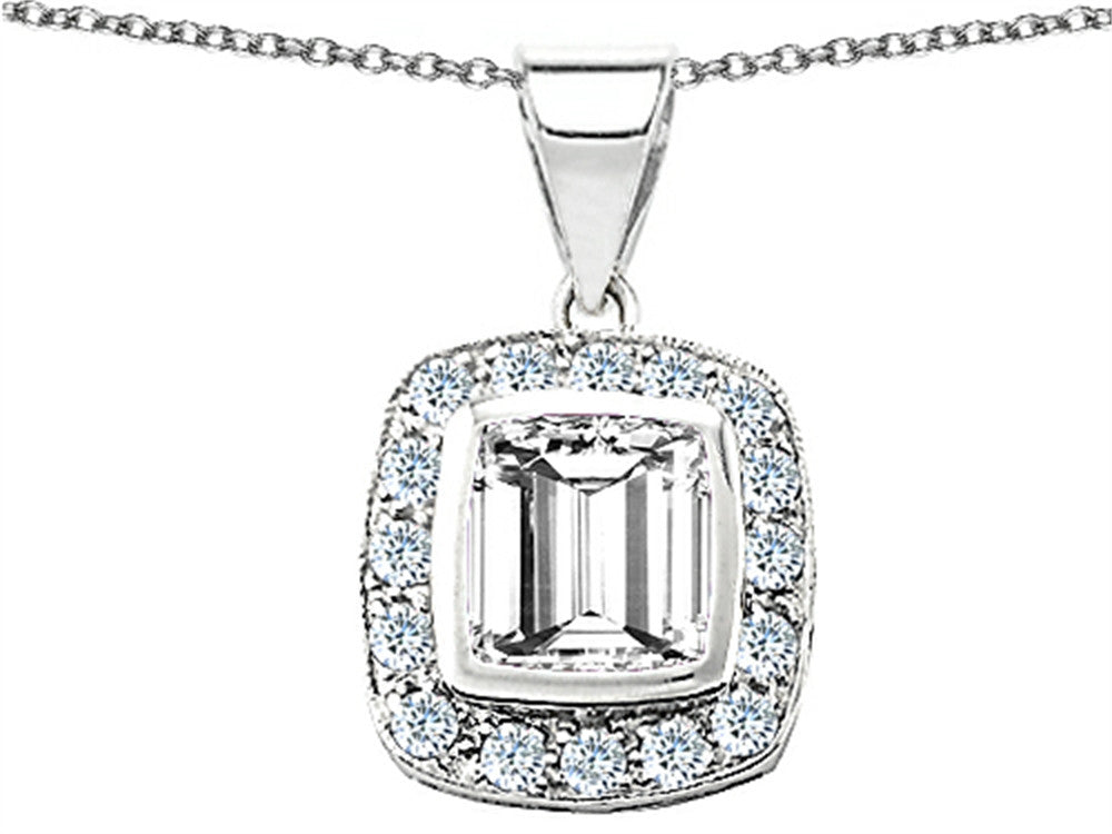 Star K Square Cushion-Cut 8mm Simluated White Sapphire Pendant Necklace Sterling Silver