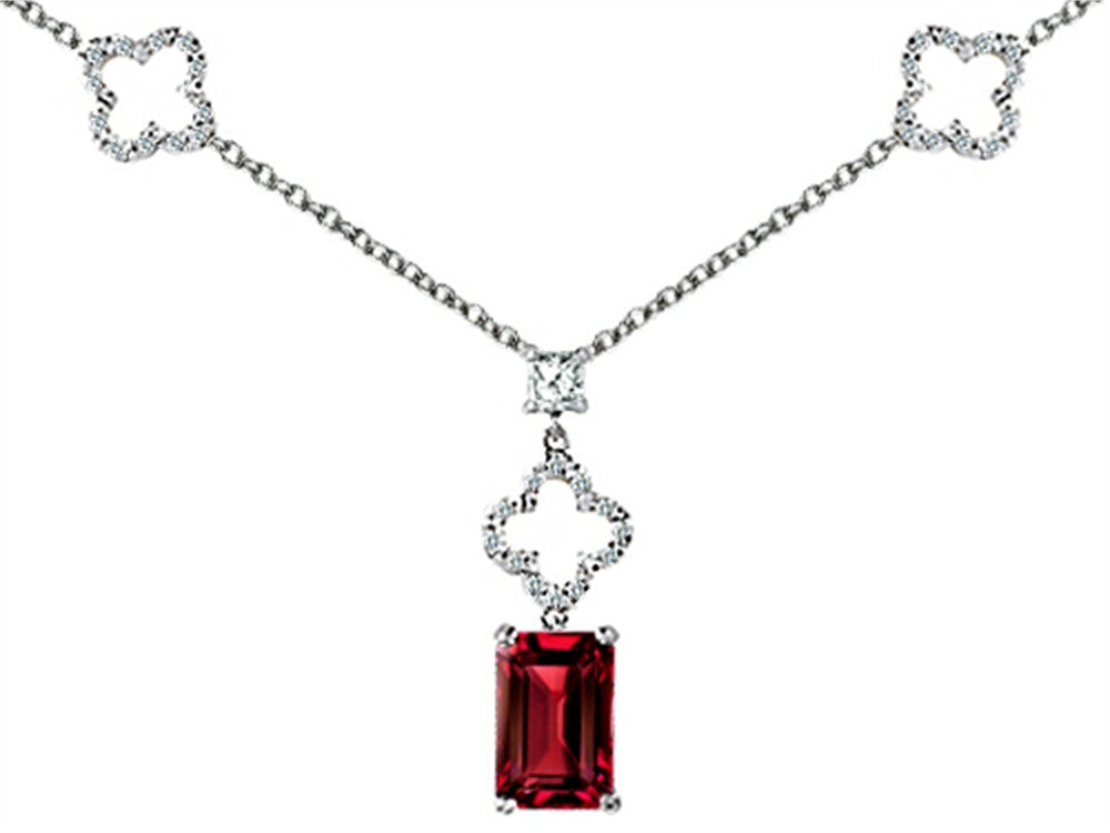 Star K Emerald Cut Created Ruby Necklace in Sterling Silver