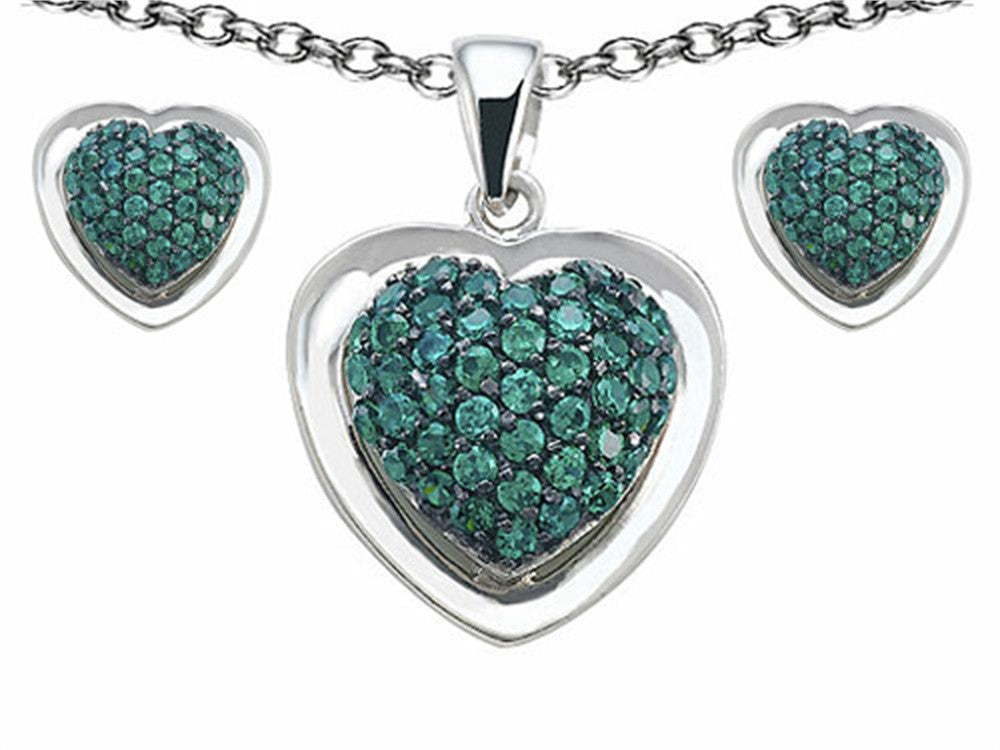 Star K Simulated Emerald Heart-Shape Love Pendant with matching earrings Sterling Silver