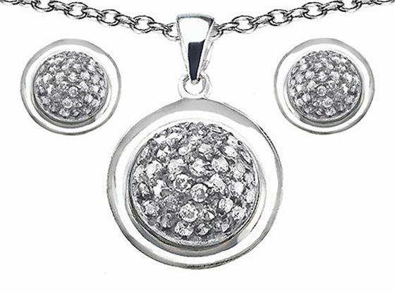 Star K Cubic Zirconia Round Puffed Pendant with matching earrings Sterling Silver
