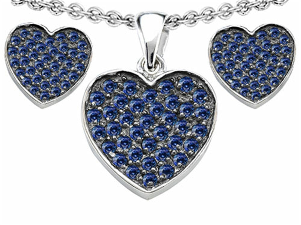 Star K Created Sapphire Heart-Shape Love Pendant with matching earrings Sterling Silver