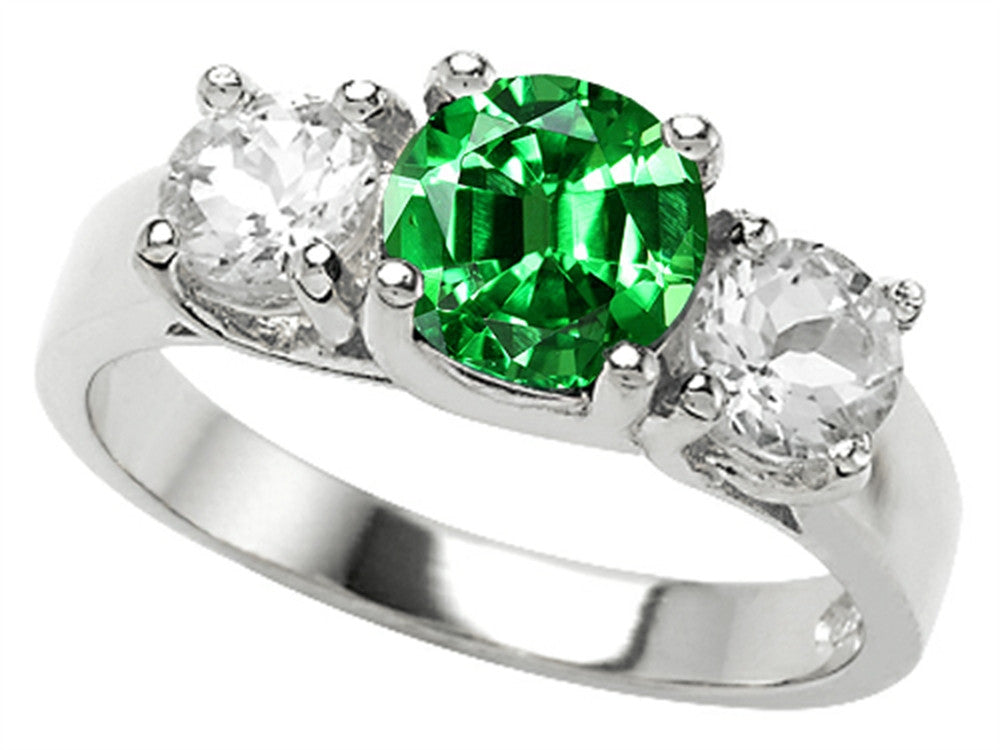 Star K 7mm Round Simulated Emerald Ring Sterling Silver Size 8
