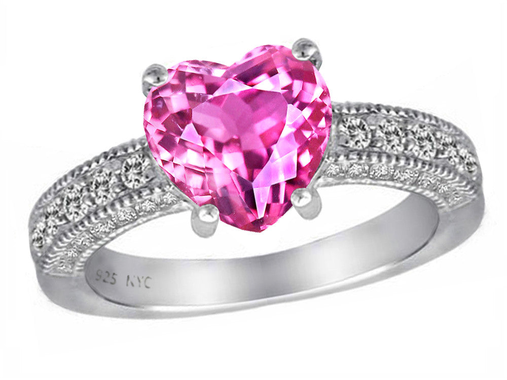 Star K 8mm Heart-Shape Created Pink Sapphire Ring Sterling Silver Size 9