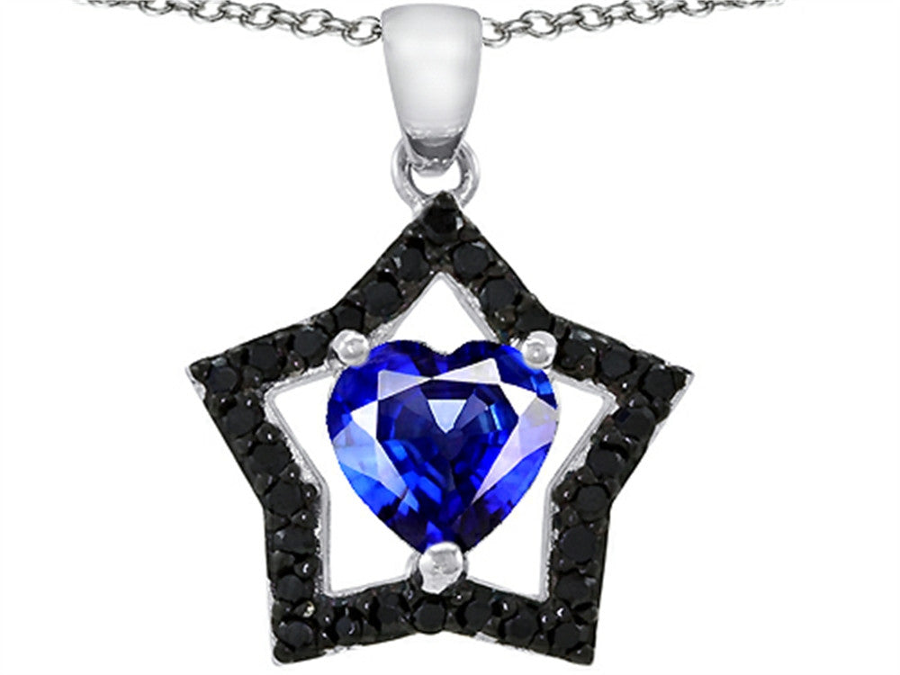 Star K Heart-Shape Created Sapphire Black Star Pendant Necklace Sterling Silver
