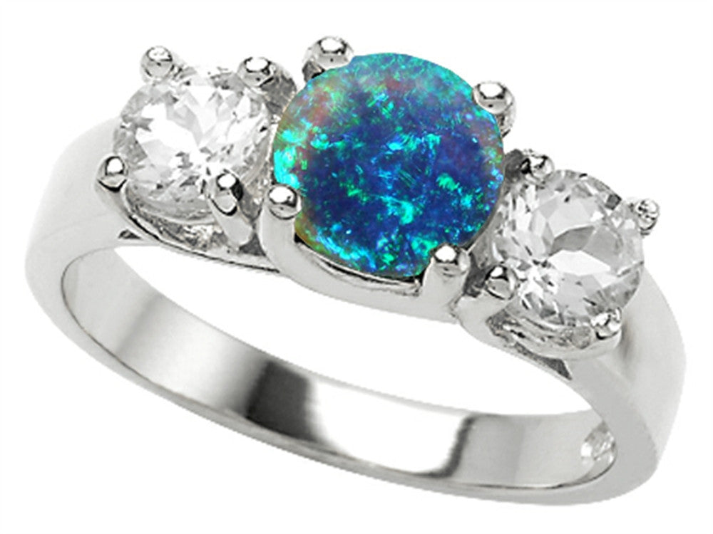 Star K 7mm Round Simulated Blue Opal Ring Sterling Silver Size 8