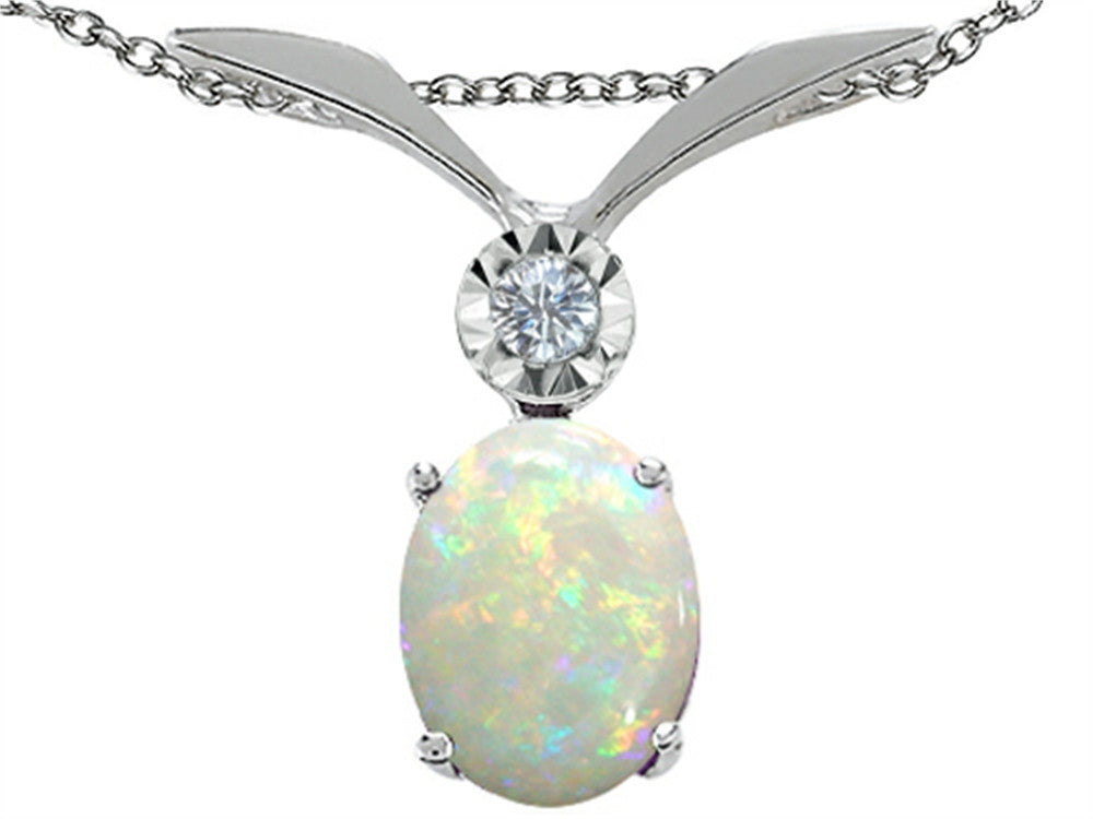 Oval 8x6mm Genuine Opal Pendant Necklace 10 kt White Gold