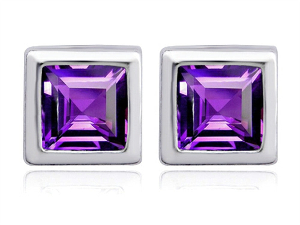 Star K 7mm Square Cut Simulated Amethyst Earrings Studs Sterling Silver