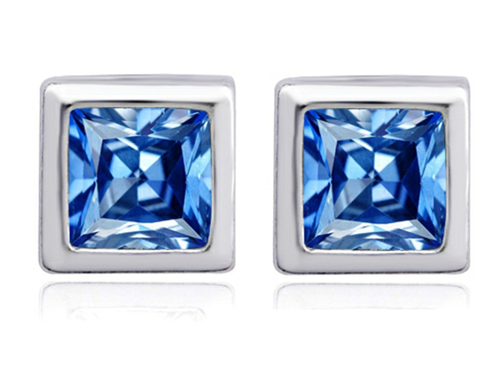 Star K 7mm Square Cut Simulated Blue-Topaz Earrings Studs Sterling Silver