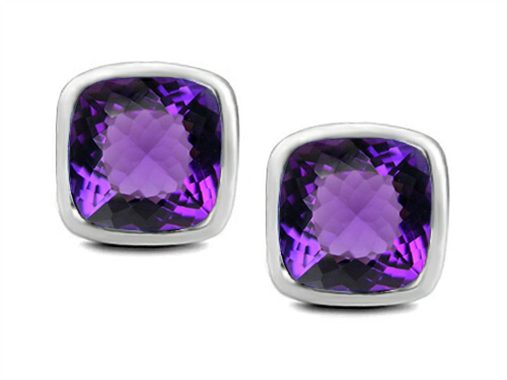 Star K 8mm Cushion-Cut Simulated Amethyst Earrings Studs Sterling Silver