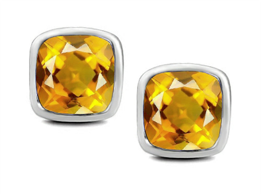 Star K 8mm Cushion-Cut Simulated Citrine Earrings Studs Sterling Silver