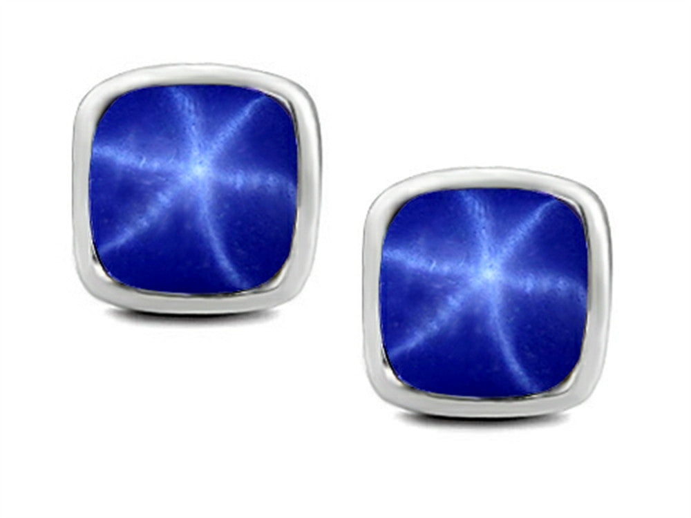 Star K 7mm Cushion-Cut Created Star Sapphire Earrings Studs Sterling Silver