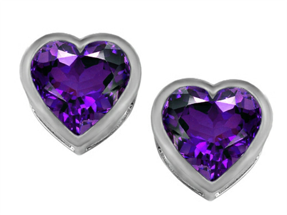 Star K 7mm Heart-Shape Simulated Amethyst Heart Earrings Studs Sterling Silver