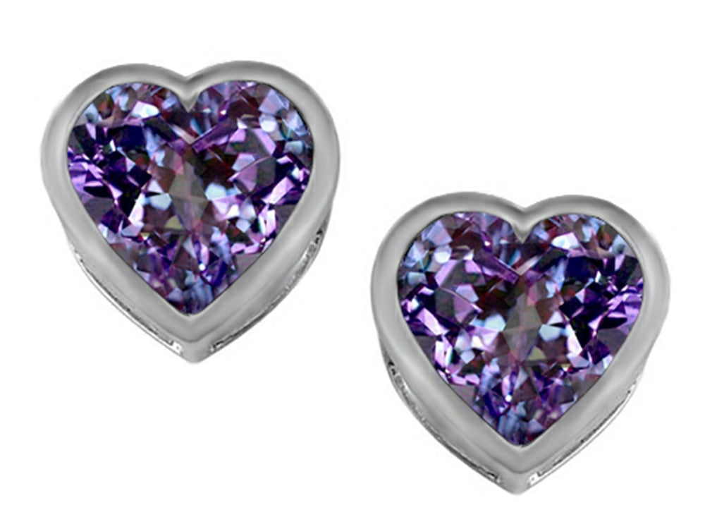 Star K 7mm Heart-Shape Simulated Alexandrite Heart Earrings Studs Sterling Silver