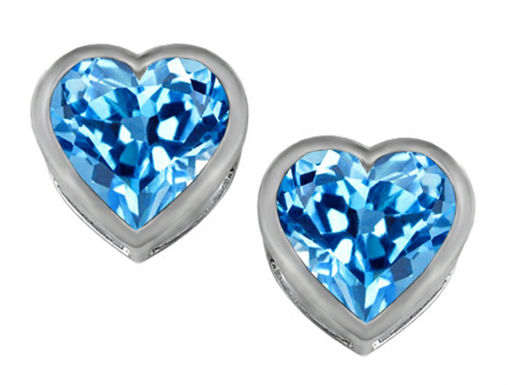 Star K 7mm Heart-Shape Simulated Blue-Topaz Heart Earrings Studs Sterling Silver