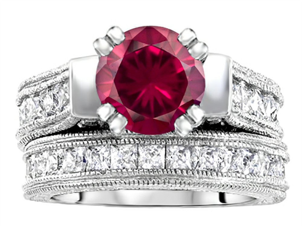 Star K 7mm Round Created Ruby Wedding Set Sterling Silver Size 8