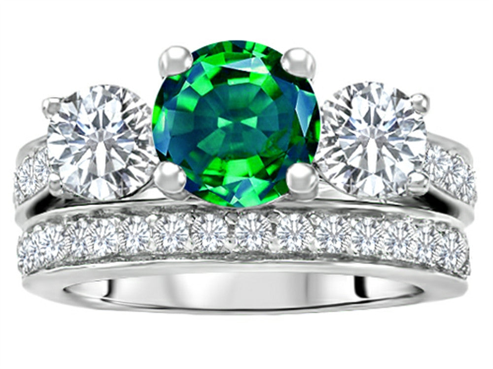 Star K 7mm Round Simulated Emerald Wedding Set Sterling Silver Size 8