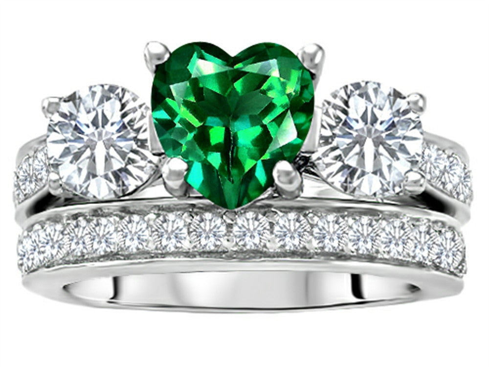 Star K 7mm Heart-Shape Simulated Emerald Wedding Set Sterling Silver Size 8
