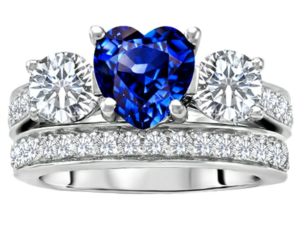 Star K 7mm Heart-Shape Created Sapphire Wedding Set Sterling Silver Size 8