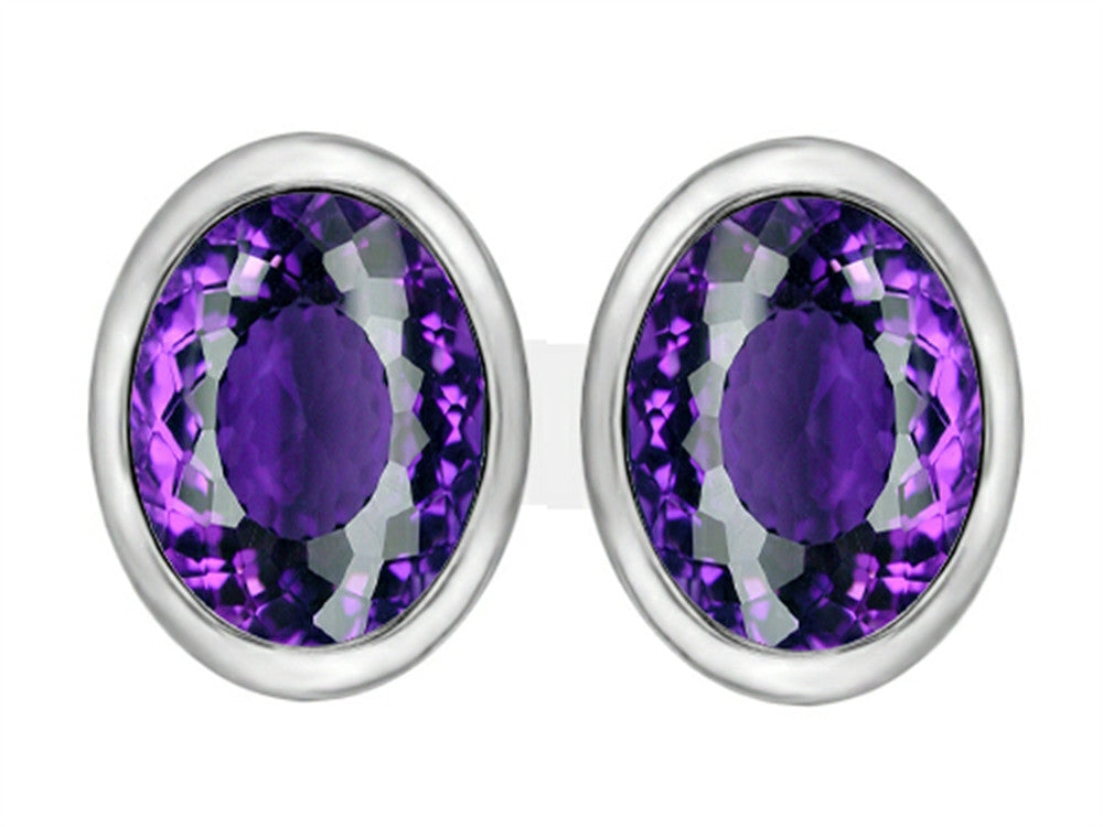 Star K 8x6mm Oval Simulated Amethyst Earrings Studs Sterling Silver