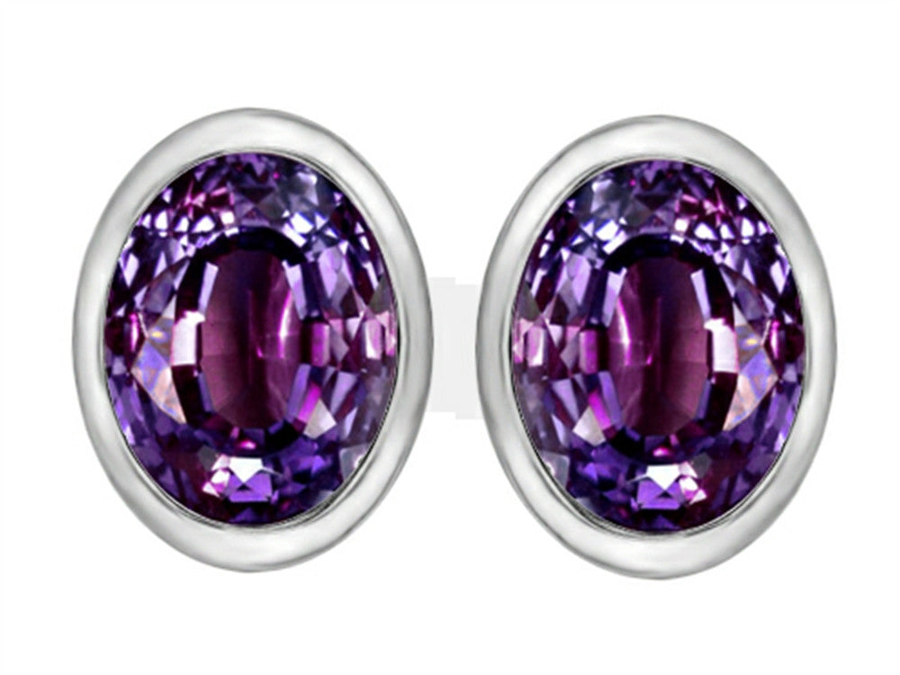 Star K 8x6mm Oval Simulated Alexandrite Earrings Studs Sterling Silver