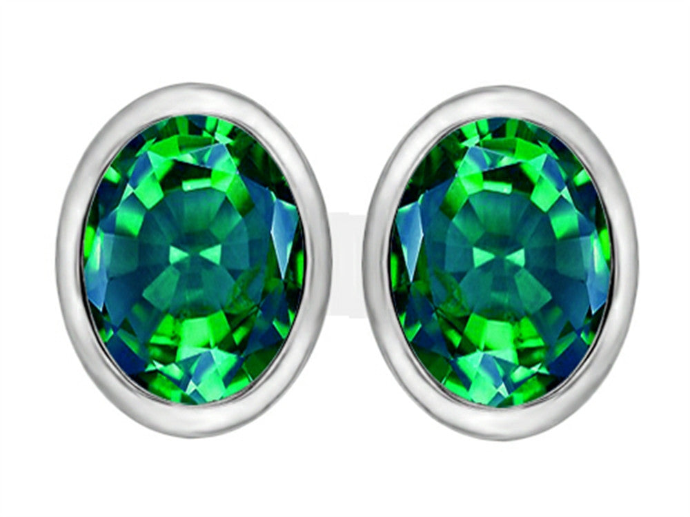 Star K 8x6mm Oval Simulated Emerald Earrings Studs Sterling Silver