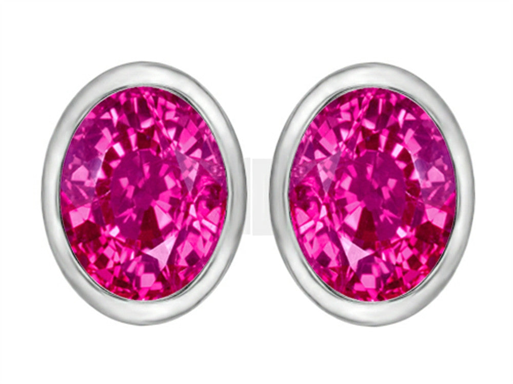 Star K 8x6mm Oval Created Pink Sapphire Earrings Studs Sterling Silver
