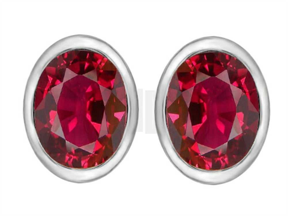 Star K 8x6mm Oval Created Ruby Earrings Studs Sterling Silver