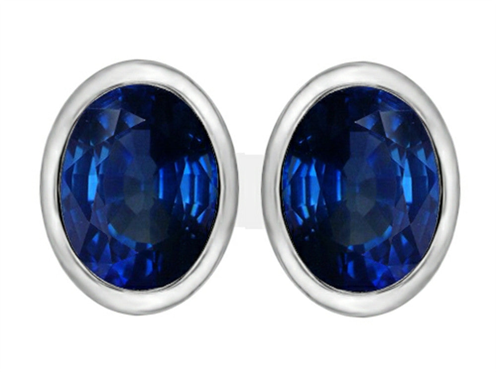 Star K 8x6mm Oval Created Sapphire Earrings Studs Sterling Silver