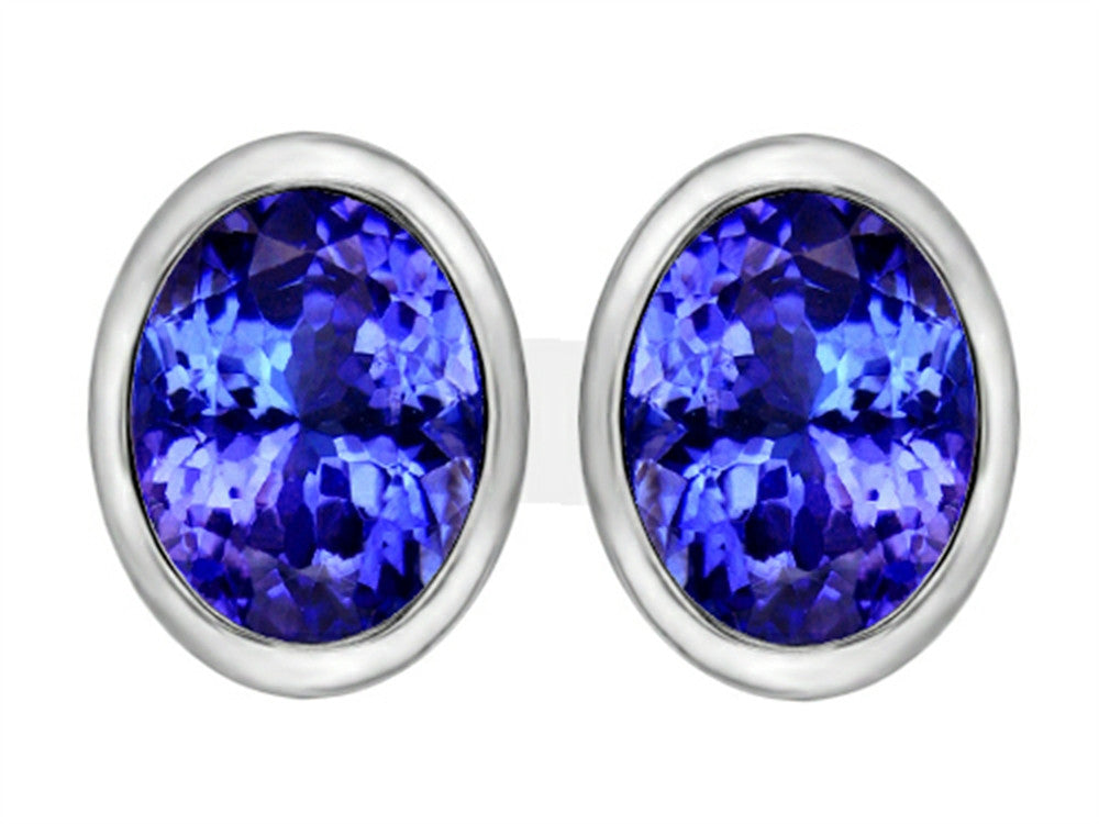 Star K 8x6mm Oval Simulated Tanzanite Earrings Studs Sterling Silver
