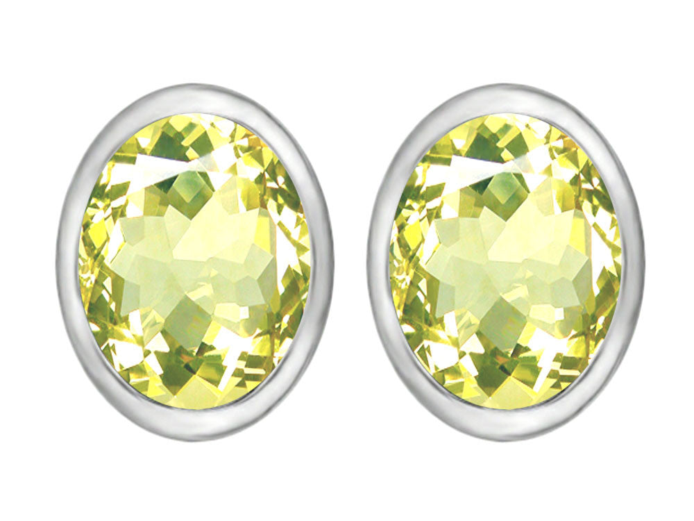 Star K 8x6mm Oval Simulated Peridot Earrings Studs Sterling Silver