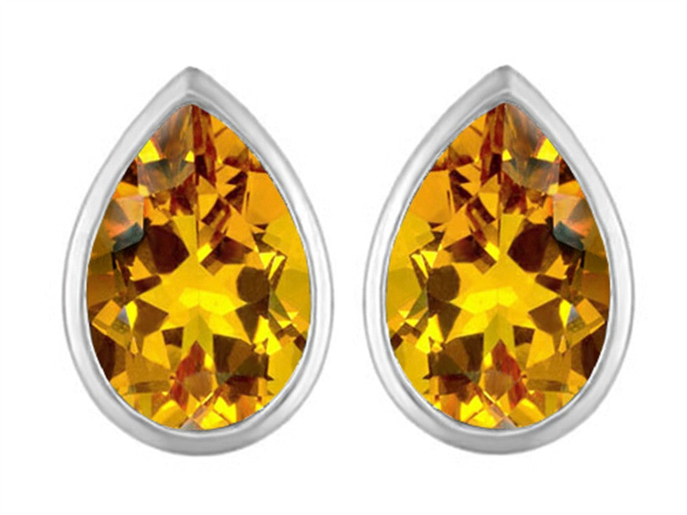 Star K 9x6mm Pear Shape Simulated Citrine Earrings Studs Sterling Silver